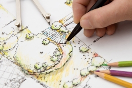Garden Design Blueprint Sketching